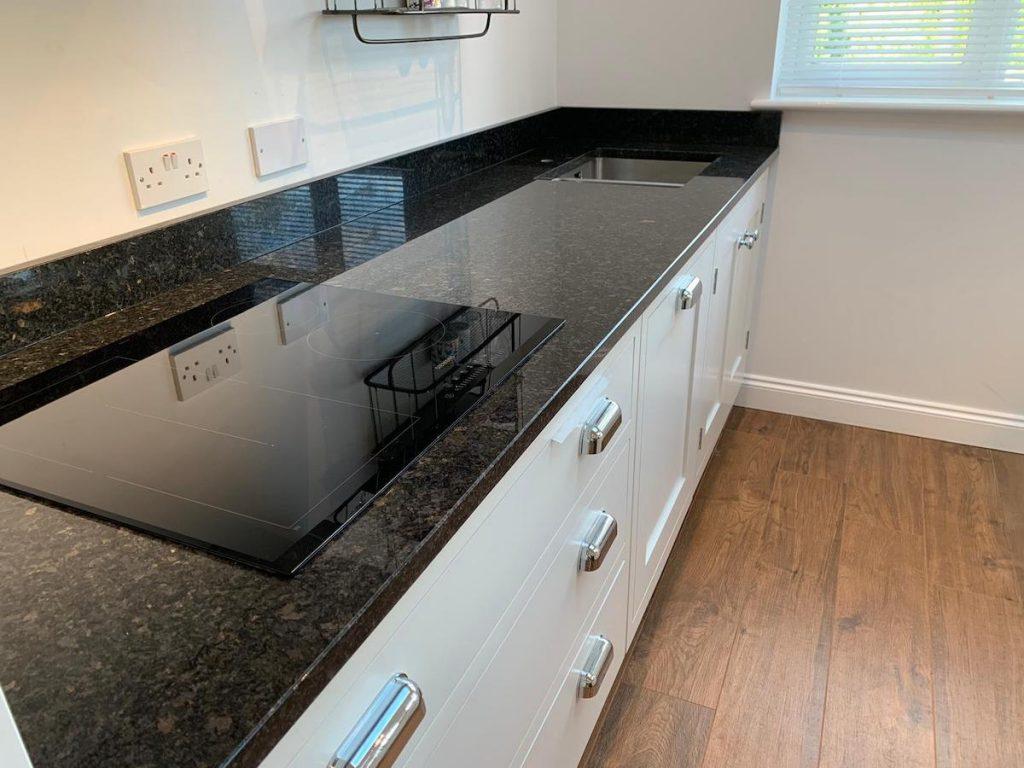 polished black granite worktop