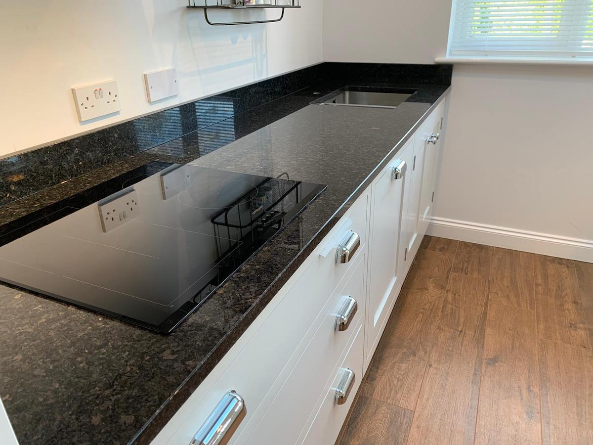 polished black granite worktop