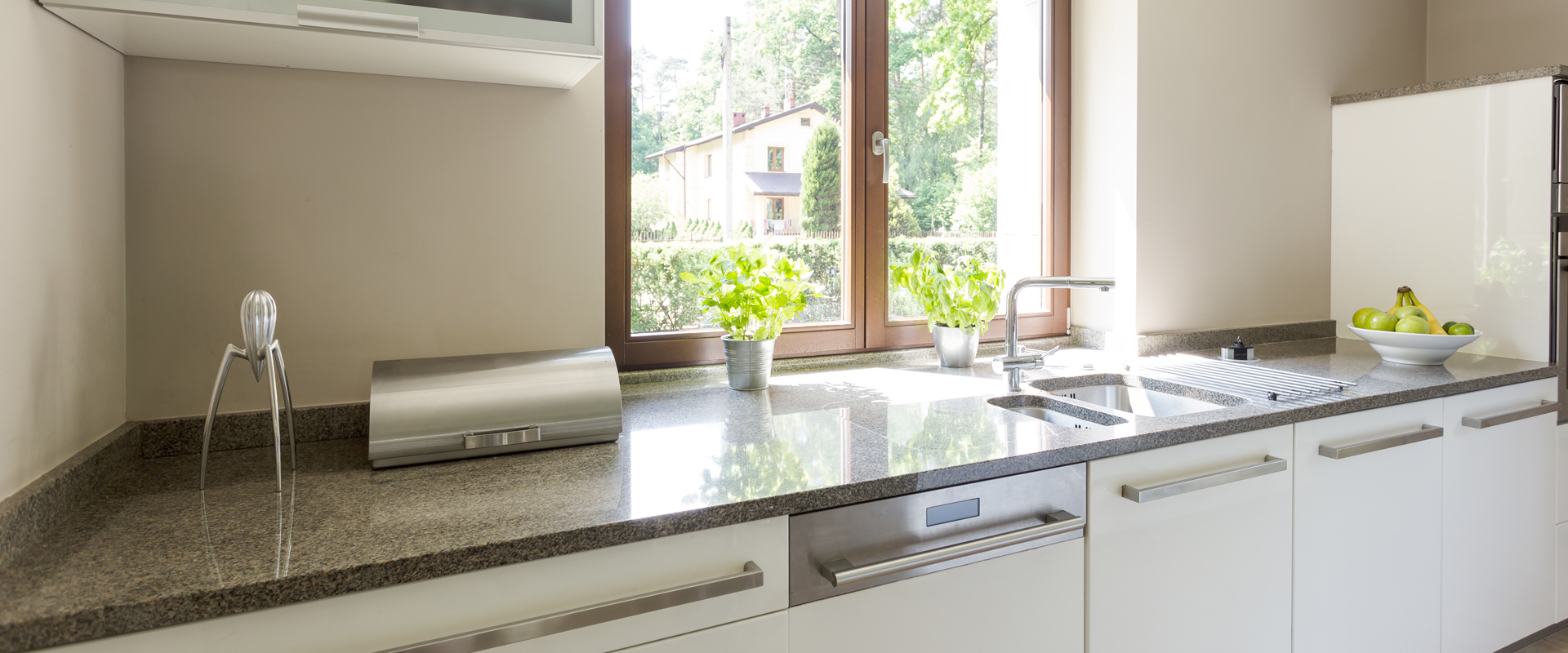 kitchen surface with sink with flower pot by a window in bright daylight