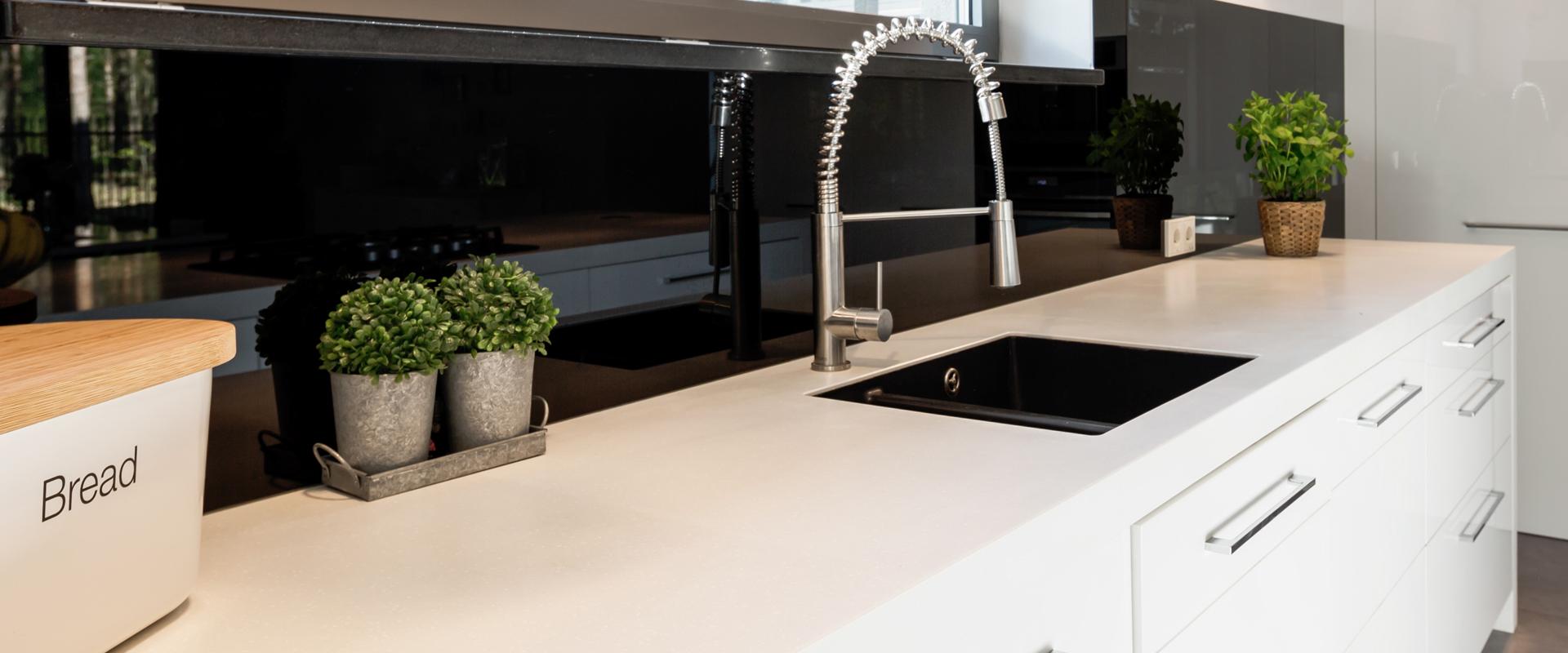 quartz worktop with kitchen sink