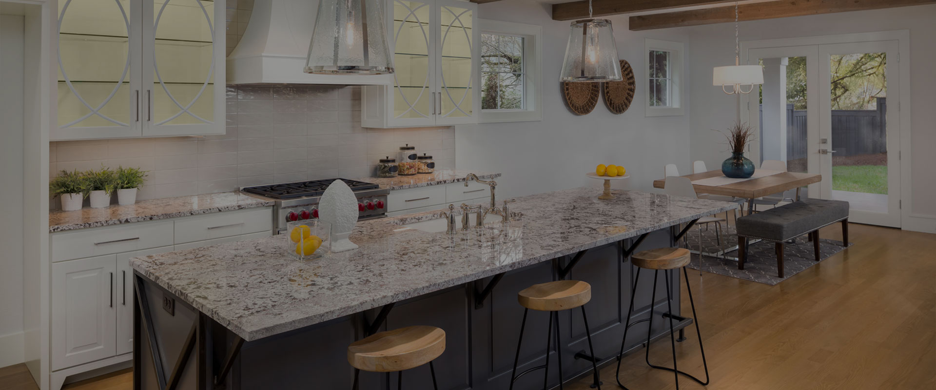 white granite breakfast bar with stools